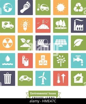 Collection de l'environnement et des changements de couleur carré connexes vector icons Banque D'Images