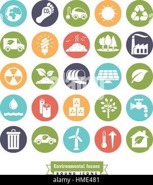 Collection de l'environnement et de changements climatiques des ronde couleur vector icons Banque D'Images