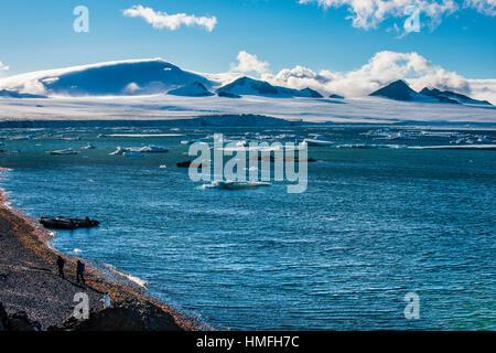 Vue sur les icebergs et les glaciers de Brown Bluff, l'Antarctique, régions polaires Banque D'Images