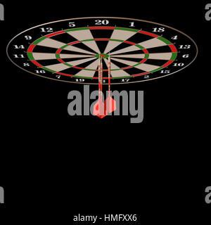 Flèches et fléchettes 3d illustration sur noir Banque D'Images