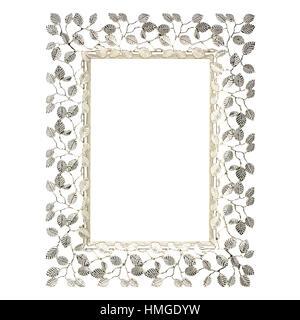 Cadre photo motif de feuilles d'argent sur fond blanc Banque D'Images