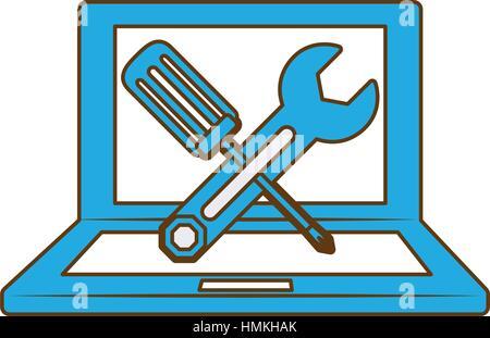 Les ordinateurs du service technique, l'icône vetor illustration design Banque D'Images