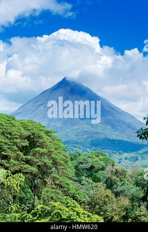 Le Volcan Arenal derrière la forêt tropicale, la Fortuna, Costa Rica Banque D'Images