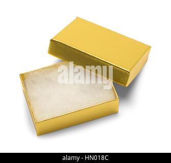 Boîte cadeau bijoux en or vide isolé sur fond blanc.