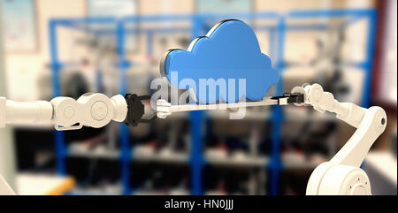 Robotic hands holding blue cloud contre l'équipement électrique sur une étagère Banque D'Images