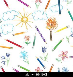 Le régime de travail de l'art pour enfants. dessin crayons de couleur modèle. seamless texture avec crayons multicolores Banque D'Images
