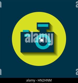 L'icône de caméra photographique sur cercle vert et bleu fond. design coloré. vector illustration Banque D'Images