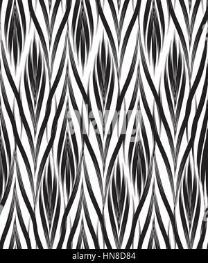Résumé motif transparent noir et blanc avec ornement de ligne géométrique swirl texture doodle. effet optique floral Banque D'Images
