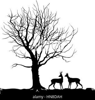 Plus d'animaux de la forêt arbres paysage avec deer. abstract vector illustration de la forêt d'hiver. vector illustration silhouette de belle famille un cerf