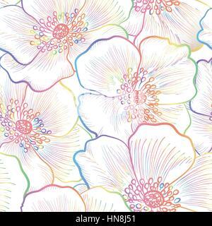Motif floral fleur transparente. Aperçu Contexte floral seamless texture décorative. avec des fleurs. Banque D'Images