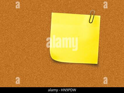 Digital composite de Yellow Sticky Note contre un conseil Banque D'Images