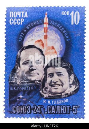 Urss - circa 1977: timbre imprimé par , spectacles Portrait de Banque D'Images