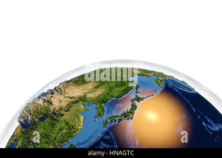 La terre de l'espace. Illustration montrant l'ordinateur comme la Terre vue de l'espace, centrée sur le Japon. Banque D'Images