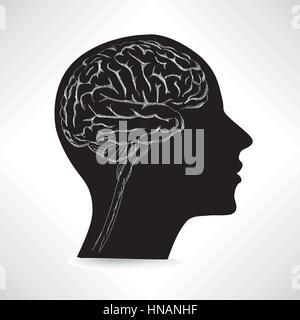 Cerveau féminin. pense que concept icône vecteur illustration croquis.. Banque D'Images