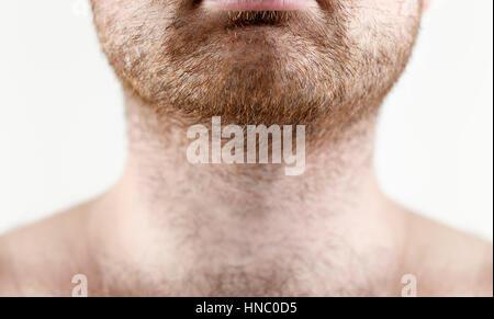Close up of man barbe et moustache non rasé Banque D'Images