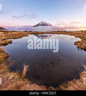 Reflet dans le lac rose Pouakai Tarn, nuages autour du Mont Taranaki ou Mont stratovolcan Egmont au coucher du soleil, Banque D'Images