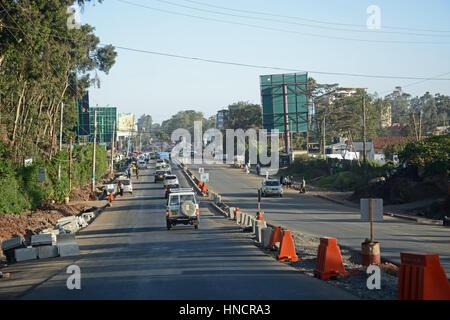 La construction de routes, Karen, Nairobi, Kenya Banque D'Images