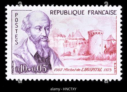Timbre-poste français (1960): Michel de l'Hospital / L'hôpital (1507 - 1573), homme politique français, avocat, et l'humaniste qui, à titre de chancelier de France à partir de 1