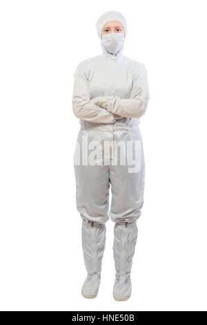 Portrait d'un chimiste laboratoire sur un fond blanc dans une combinaison de protection de Banque D'Images