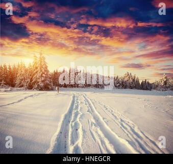 Route d'hiver. Belle couleur, haute-résolution avec une illustration holida Banque D'Images