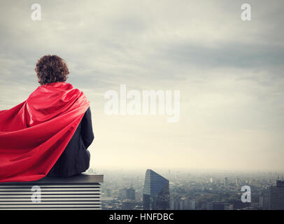 Super-héros de la ville d'affaires Banque D'Images