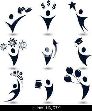 Couleur noir isolé du corps humain abstrait logos silhouette, business,éducation, maison de symboles des partis Banque D'Images