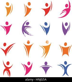 Corps humain abstrait coloré isolé logos silhouette vecteur illustration. Banque D'Images