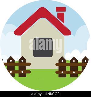 Circulaire de couleur paysage avec maison avec clôture vector illustration Banque D'Images
