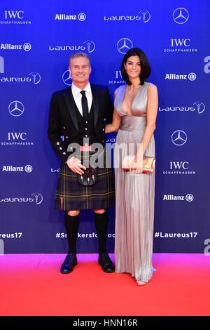 Jardin exotique. 14Th Feb 2017. L'Ambassadeur Laureus British ancien pilote de Formule 1 David Coulthard (L) et Banque D'Images