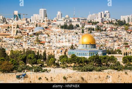 Les toits de la vieille ville, au Mont du Temple, Jérusalem, Israël Banque D'Images