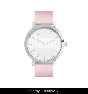 Montre bracelet style produit angle avec fond blanc, finition en métal brillant. Banque D'Images