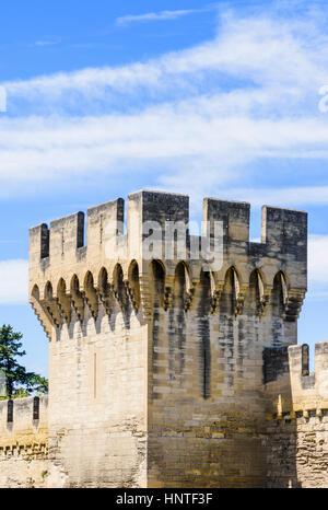 La tour de défense, une partie de la section sud des remparts de la ville médiévale fortifiée d'Avignon, France Banque D'Images