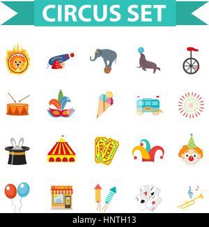 Circus Icon Set, Télévision, style dessin animé. Situé isolé sur un fond blanc avec des éléphants, lions, Sealion, gun, clown, des billets. Éléments de conception. Illustration vectorielle, clip art.