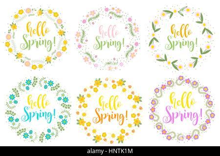Bonjour Printemps floral frame set pour le texte, isolé sur fond blanc. Vector illustration. Banque D'Images