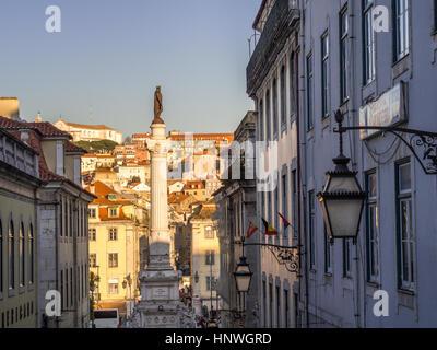 Lisbonne, Portugal - 10 janvier 2017: La colonne de Pedro IV sur la place Rossio (Pedro IV Square) à Lisbonne, Banque D'Images