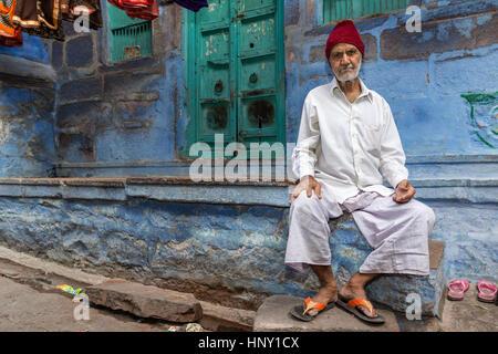Ancien homme du Rajasthan, Jodhpur, Rajasthan, India Banque D'Images