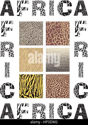 Afrique de l'illustration vectorielle - contexte avec texte et texture animal sauvage Banque D'Images