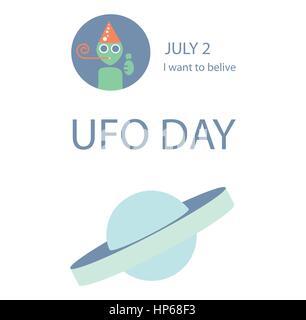 Jour UFO vector illustration Banque D'Images