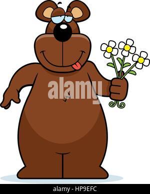 Une bonne caricature ours avec un bouquet de fleurs. Banque D'Images