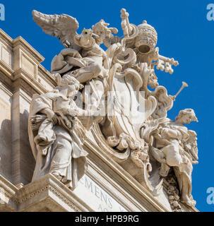 Détail de la fontaine de Trevi, Rome, Latium, Italie, Europe Banque D'Images