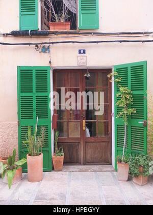 Détail d'un mur de la maison rustique avec des volets extérieurs et plusieurs plantes en pot dans la vieille ville Banque D'Images