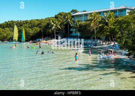 Key Largo Florida East Florida Keys Florida Bay Hilton Key Largo Resort hotel plage privée réduite Banque D'Images