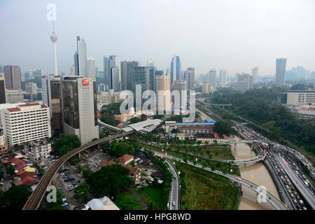 L'Asie du Sud-Est, la Malaisie, Kuala Lumpur, vue aérienne du centre-ville de KL Banque D'Images