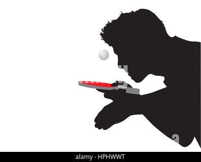 Silhouette d'un joueur de tennis de table avec raquette et la balle rouge Banque D'Images