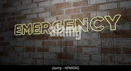Urgence - Glowing Neon Sign sur mur en pierre - rendu 3D illustration libres de droits. Peut être utilisé pour des Banque D'Images
