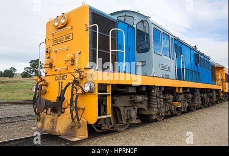 Dunedin, Otago, Nouvelle-Zélande. DJ3107 Locomotive du chemin de fer à Taieri Gorge Pukerangi. Banque D'Images