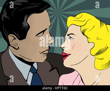 Kissing couple illustration Banque D'Images