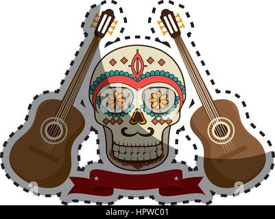 Paire autocollant encore de guitare acoustique avec ornement décoratif crâne en sucre et ruban Banque D'Images