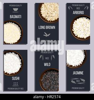 Ensemble d'étiquettes avec différents types de riz dans des pots. Sauvages, Basmati, jasmin, long, brun, arborio sushi. Texte de qualité premium. Vector illustration. top vi