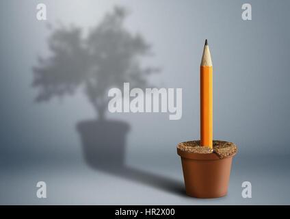 Idée concept créatif, un crayon de plus en plus pot Banque D'Images